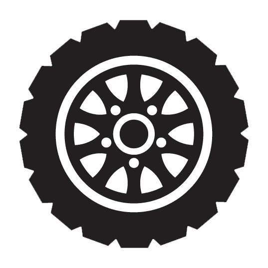 black and white tire icon