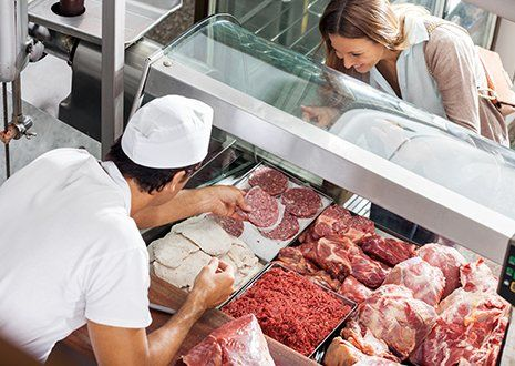 Vista di una macelleria a Torino