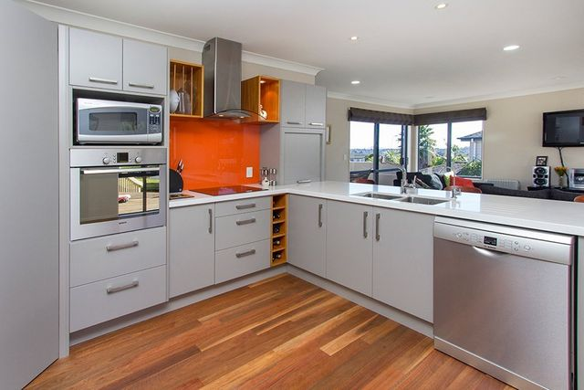 View of custom kitchen cabinets built by experts