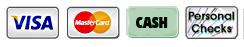 Visa, MasterCard, Cash, Personal Checks