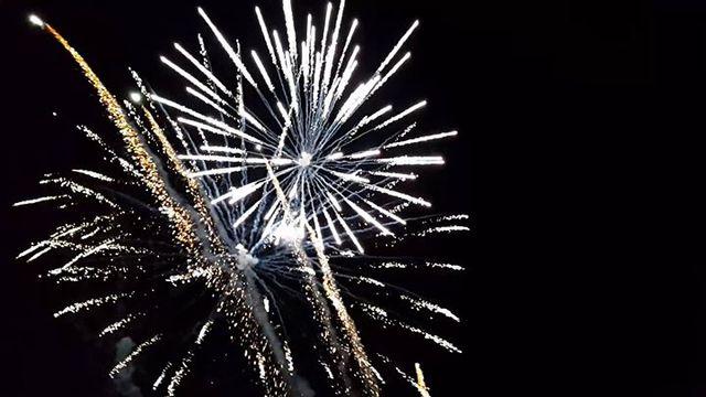 fuochi d'artificio chiari esplosi durante la notte.