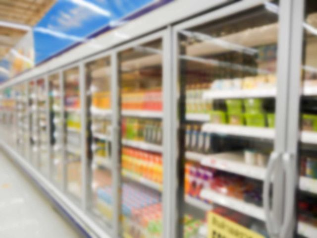 Commercial refrigerators in a large supermarket