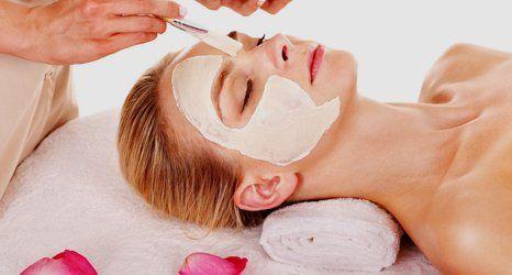 a lady undergoing facial