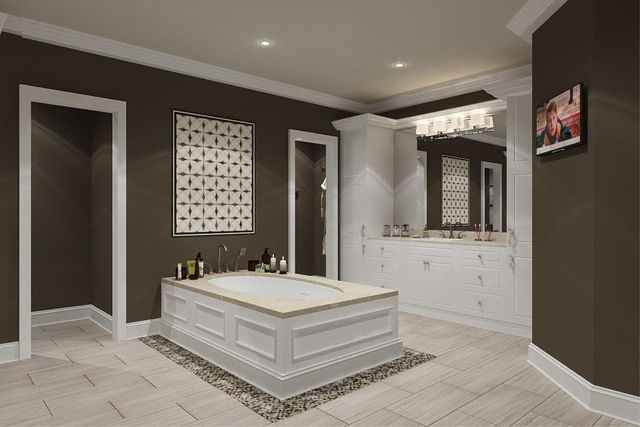 Big bathroom with wash basins and taps