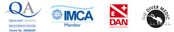 list of accredditations including DAN, IMCA, The diver medic and qualsafe awards