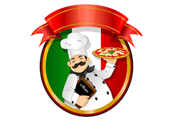 pizzaiolo solleva una pizza davanti alla bandiera italiana