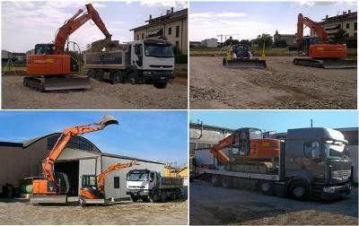 Escavatore al lavoro a Verona