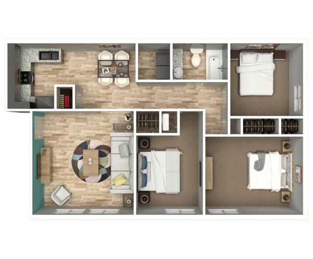 Top view of the three-bedroom apartment of Eastwood Greene