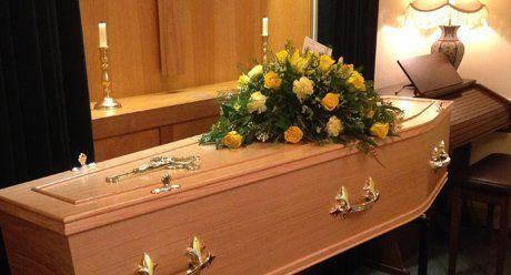 flowers on the coffin