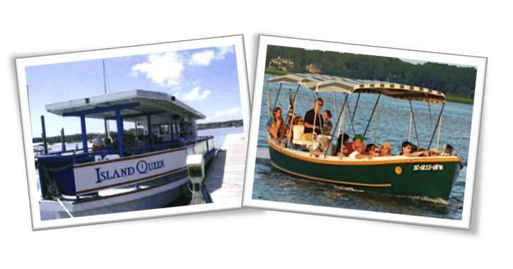 We offer 2 dolphin cruises in Hilton Head Island, SC: a 1.5 hour dolphin and nature tour, and an evening fireworks dolphin tour and sunset cruise from our ships the Island Queen and  the SS Pelican.