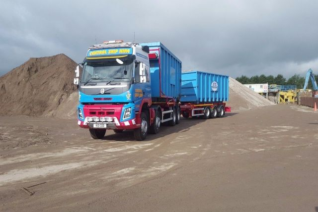 Truck getting loaded at the recycling plant