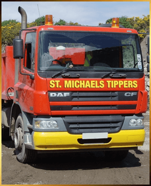 Our St. Michaels Tipper red and yellow wagon