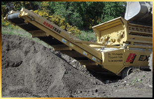 Machinery moving aggreagate in a quarry