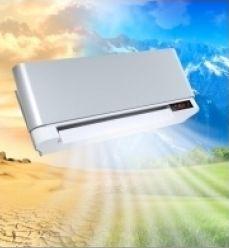 Disegno di un condizionatore che dal cielo irradia un prato