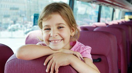 a girl in a bus
