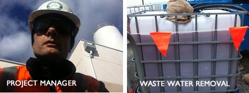 JetClean project manager for silo cleaning. ICB for removal of 'rusty' soda blasting waste water.