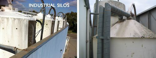 Cleaning of an industrial silo