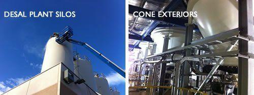 Cleaning exterior surfaces. Soda blasting silo interior