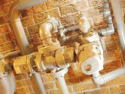 Primo piano d'un impianto idraulico
