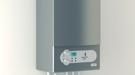 A silver fronted gas boiler