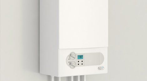 A white wall mounted boiler