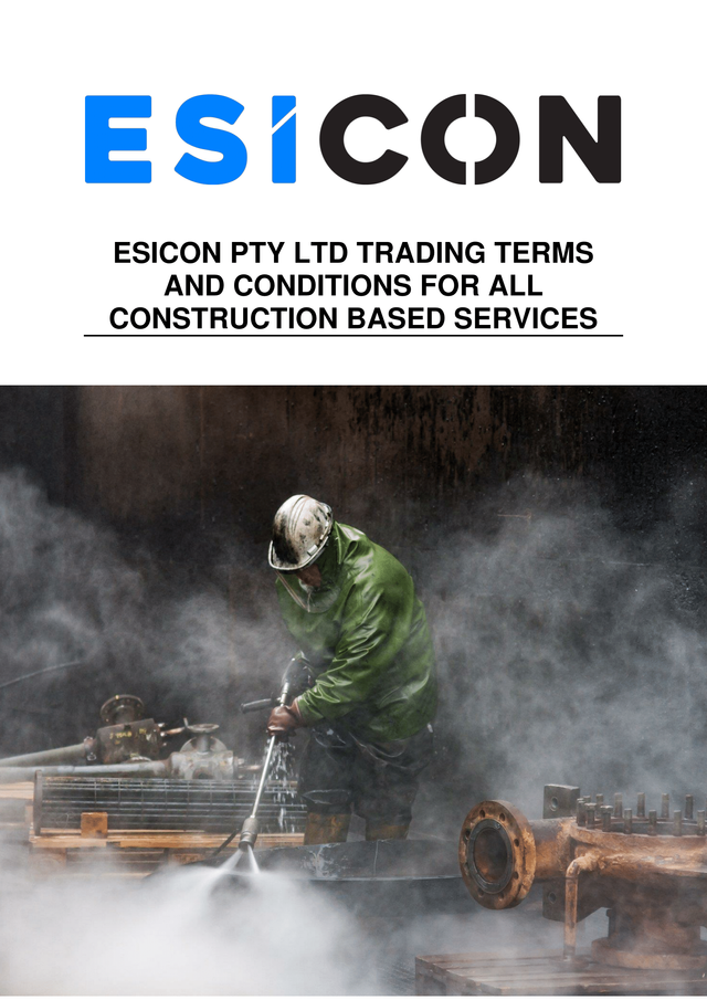Esicon terms and conditions