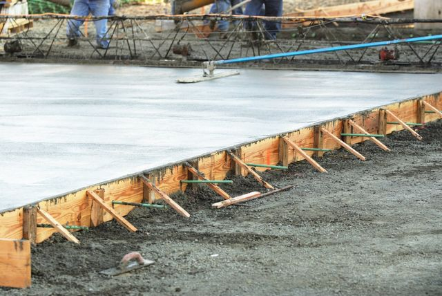 Fresh poured concrete allowed to set