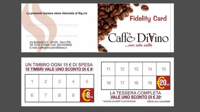 una carta di fedeltà del caffè divino