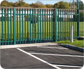 Green fencing around a sports field