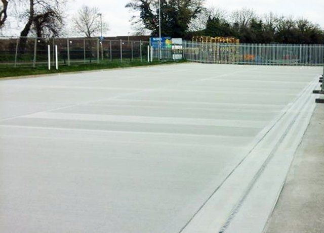 Half-laid concrete court