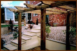 Pergola and raised flower beds in a garden