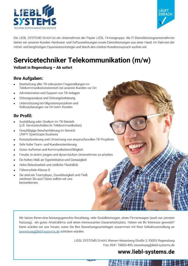 Stellenangebot Servicetechniker Telekommunikation