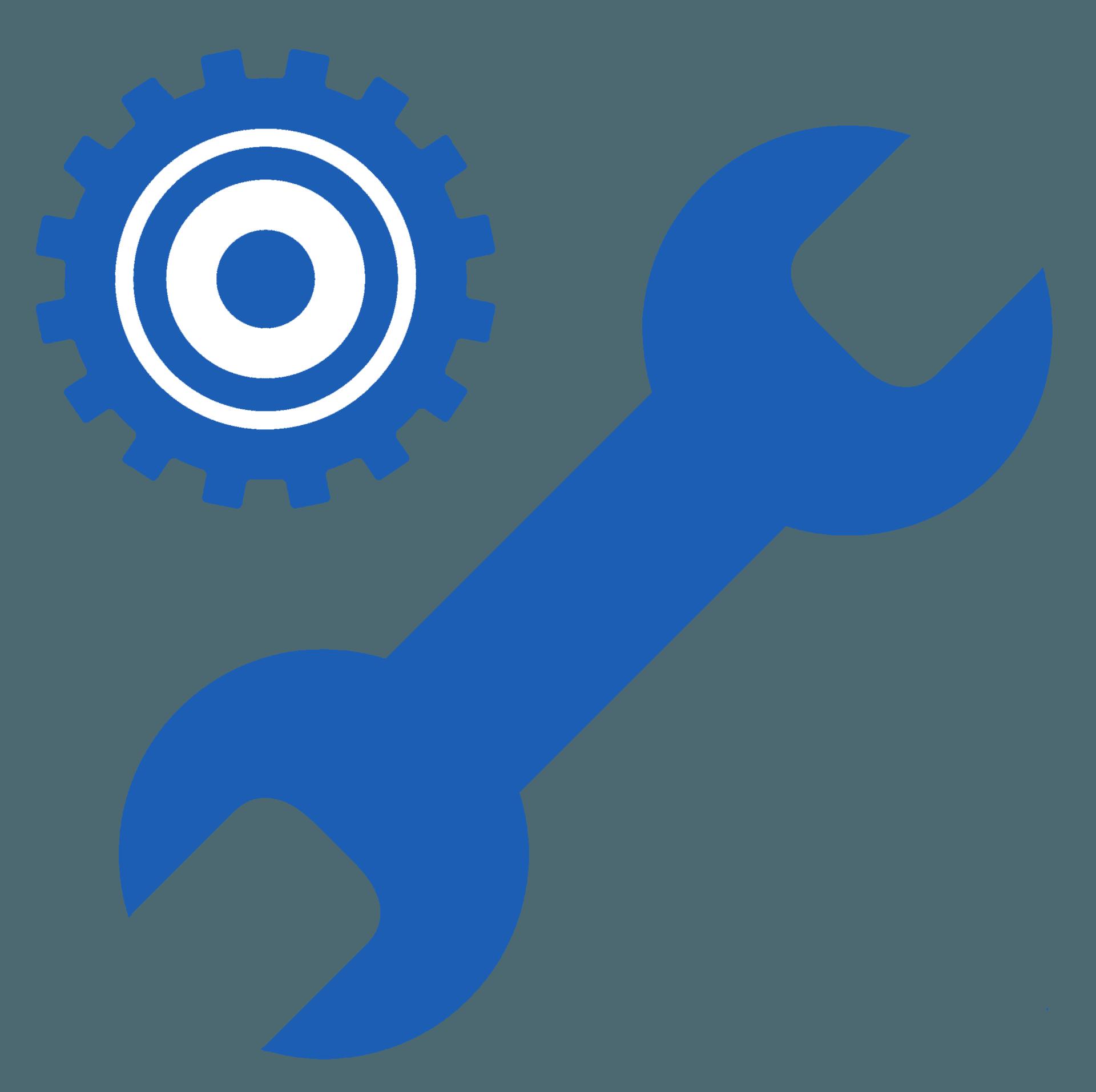 icona chiave inglese e ingranaggio