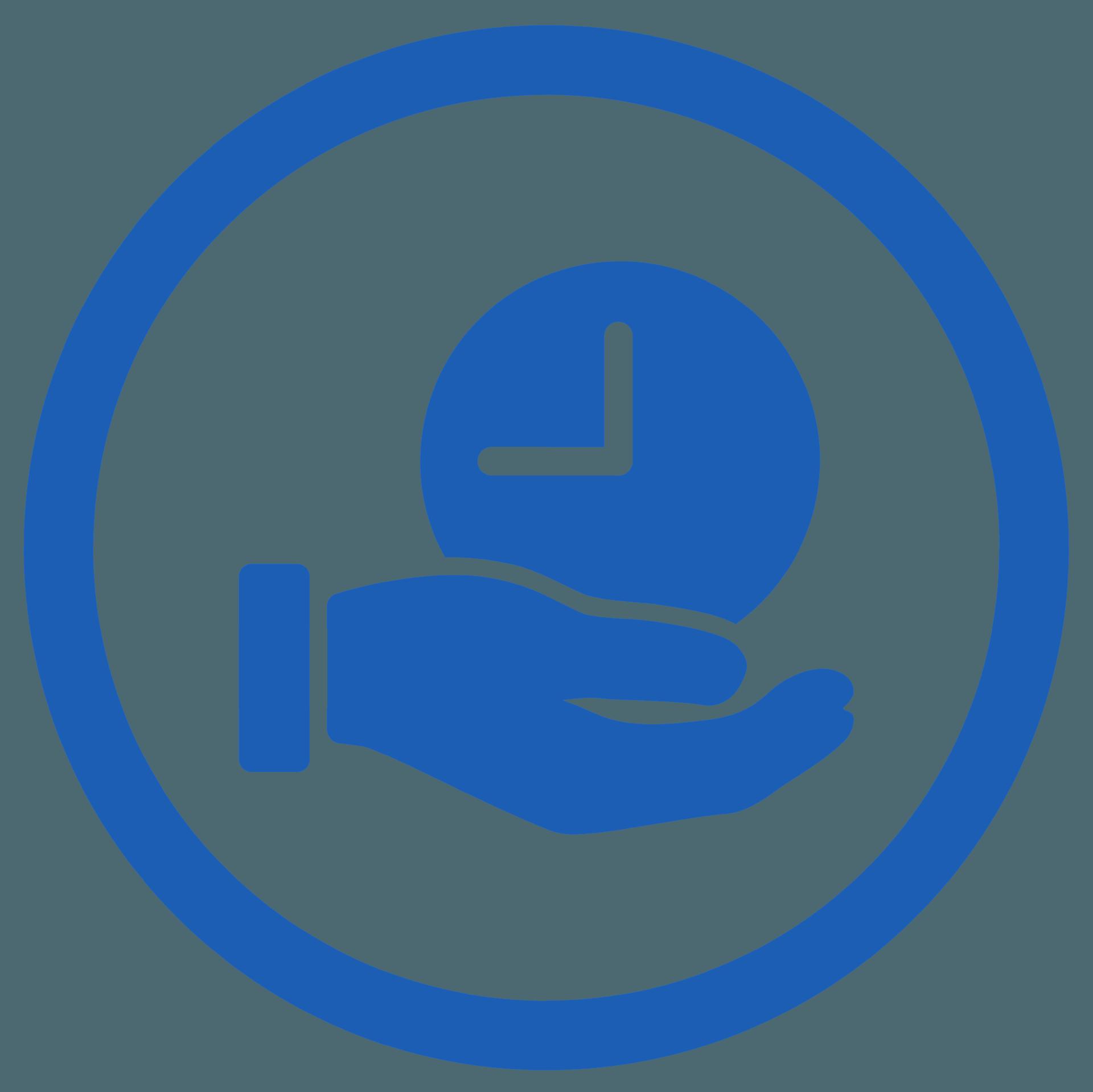 icona mano con orologio