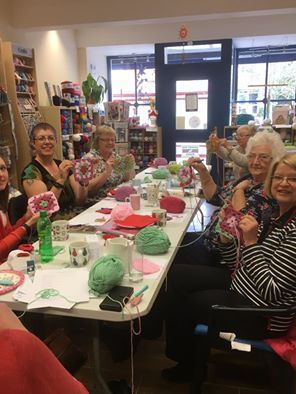 Group of women doing the knitting work in Northamptonshire