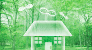 Computer generated house image with a green background