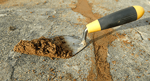 A trowel and mortar