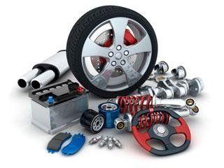 una ruota e altri componenti di una vettura