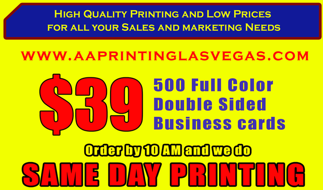 aa printing las vegas - Same Day Business Cards Las Vegas