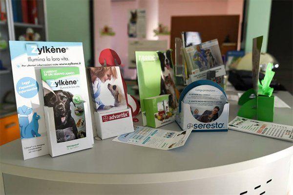 vista dei depliant disponibili presso pronto soccorso veterinario campano a San Prisco in Campania