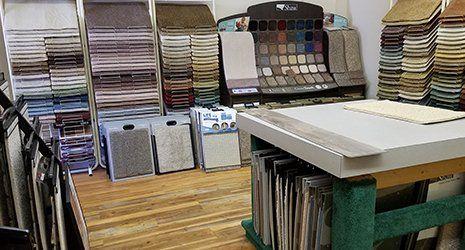 Flooring samples in showroom in High Point