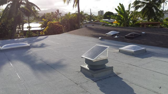 These solar fans were installed on a home in Waimanalo by Al Rezentes Roofing Inc