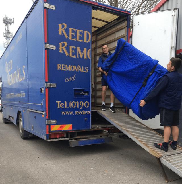 Half unloaded goods truck