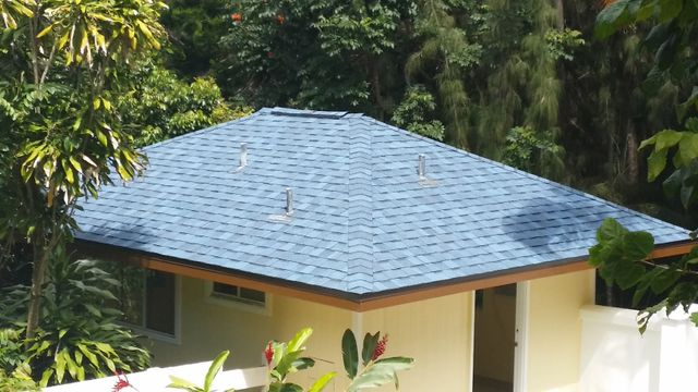 Blue roof installed by On Top Roofing