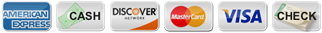 American Express, Cash, Discover, MasterCard, Visa, Check payment method icons