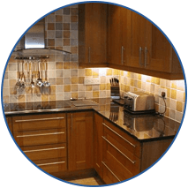 wooden cabinets and tiles