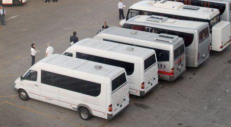 several minibuses