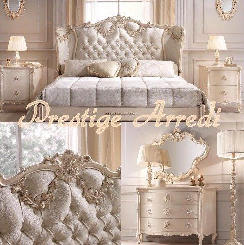 due immagini raffiguranti un letto con testata imbottita,un como' e la scritta Prestige Arredi
