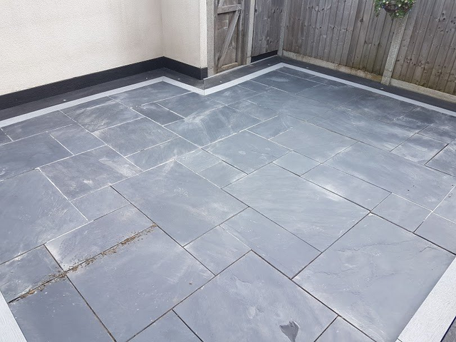 Black Slate Patio Tiles Regrouting Cleaning And Sealing In