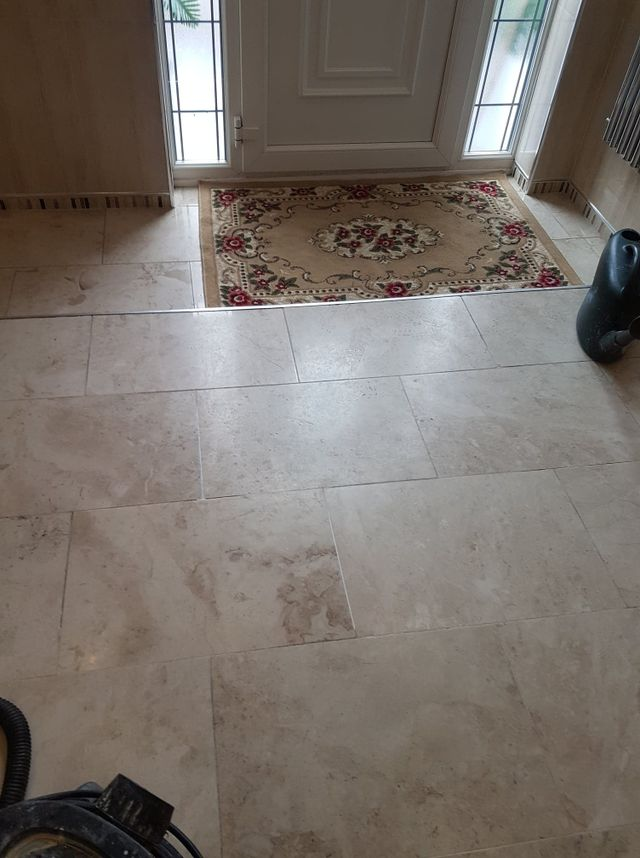 WORN MARBLE FLOOR TILES CLEANING, POLISHING AND SEALING IN